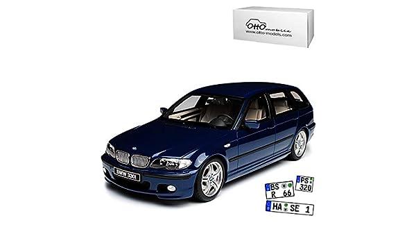 B-M-W 3er E46 Kombi Touring M-Paket Blau 1998-2007 Nr 251 1//18 Otto Modell Auto mit individiuellem Wunschkennzeichen