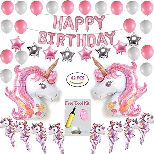 Geburtstagsdeko Einhorn Deko Geburtstag 42 Stück Party Dekoration Set mit Einhornballons, Happy Birthday Ballon Banner Decko für Kinder Mädchen Frauen Party (Banner Geburtstag Anpassen)