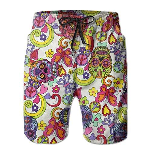 goodsale2019 Männer Lustige Hippie Zuckerschädel Schmetterlinge Strand Shorts Badehose Schwimmen Badeanzug Lustige Boardshorts