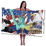 Ksiy Aquila con bandiera americana economia asciugamano (78,7x 132,1cm) 100% microfibra per la massima morbidezza Easy care-home, spa, resort hotel/Motel; da usare in palestra