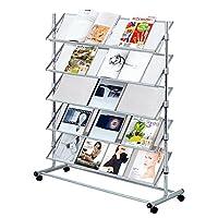 Pureday Large Mobile Brochure Display Stand with 5 Shelves Metal Chrome