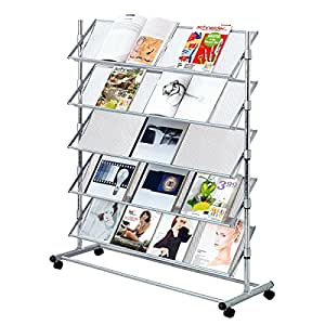 Porte-brochures présentoir à prospectus sur roulettes 5 étagères métal gris 100 x 43 x 126 cm