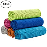 Vaycally 6pcs Cooling Towel, Ice Towel, Microfiber Towel For Instant Cooling Relief, Cool Cold Towel for Yoga Beach Golf Travel Gym Sports Swimming Camping as Cooling Neck, Headband