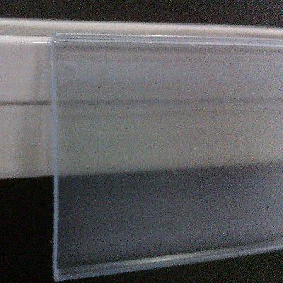 Pack de 50 portaprecios con adhesivo a 1 metro para etiquetas de 39mm . Color transparente.