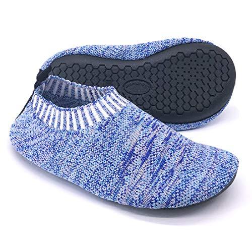 Dream Bridge Kinder Hausschuhe für Jungen Mädchen Kleinkinder Slipper Socken Anti-Rutsch Sohle mit Weiches Gummi Zimmer Draussen Schuhe Stoppersocken (Blau)