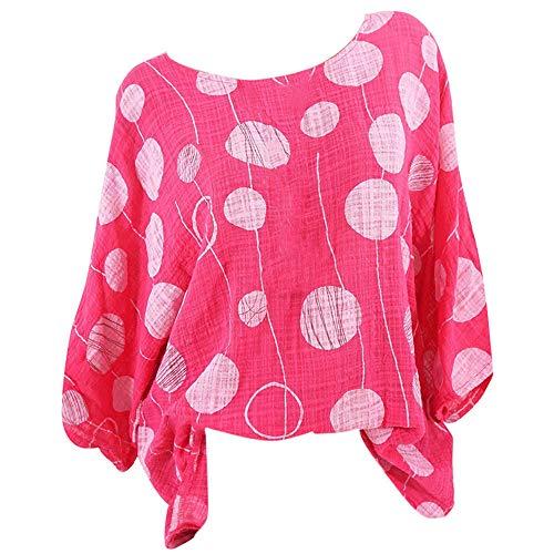 Paolian Tee-Shirt Femme col Rond à Manches Longues, imprimé léopard à Pois, Base Souple et Confortable Manches Longues(S/M/L/XL/XXL/XXXL/XXXXL/XXXXXL)