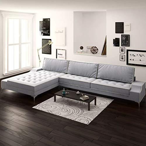 Arichtop Sofa in L-Form Vintage Stoff Hellgrau XXL 326 x 163 x 83 cm