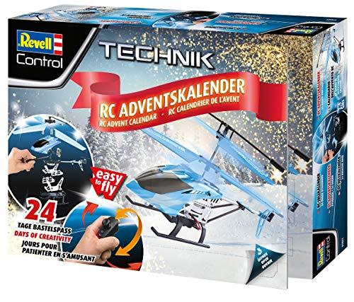 Revell Control 01021 Adventskalender RC Helikopter mit Motion-Control, 2.4 GHz, LED-Beleuchtung, Gyro, inkl. Batterien in 24 Tagen zum selbstgebauten, ferngesteuerten Hubschrauber, ab 12 Jahren, 18 cm