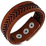 Zense-Pulsera hombre en piel auténtica marrón con costura negra zb0300