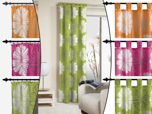 blickdichter Schlaufenschal - Minelli von deko trends - wunderschöner Vorhang mit markantem Druckmotiv - erhältlich in 3 Farbkombinationen - Stoffbreite ca. 140 cm, orange/anthrazit