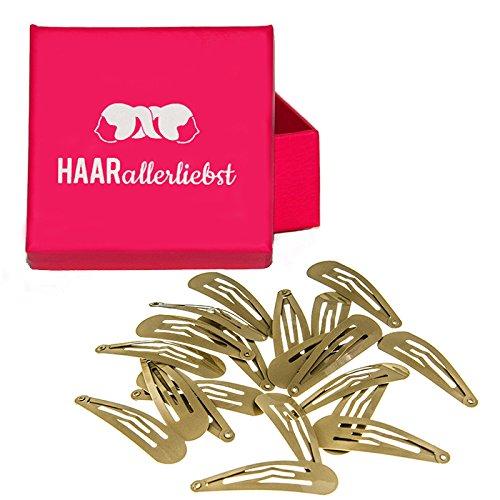 HAARallerliebst Haarspangen für blonde Haare (20 Stück | beige | 5 cm) inkl. Schachtel zur Aufbewahrung (Schachtelfarbe: pink)