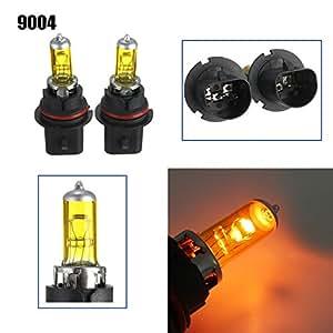 AUDEW 2 X 9004 60/45W Auto Ampoule Halogènes Voiture Phare Véhicule Lampe DC 12V Jaune Lumière 3000-3500K