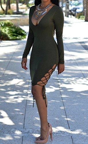 Femmes Sexy col V profond à manches longues Bandage Cocktail Clubwear Robe moulante Midi Vert