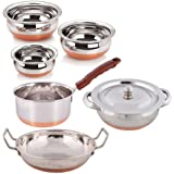 "Cookware Combo - PREMIUM Handi With Lid -750 Ml. With Sauce Pan Copper Bottom - 2 Liter - With - Serving HANDI Set 3 Pcs. - Copper Bottom - 550ml, 750ml, 1250ml. ""Premium Quality"" - With - KADHAI 2 Liter - COPPER BOTTOM."