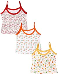 Babeezworld Baby Girl's Cotton Cut Sleeve Sleeveless Regular Fit Vest Spaghetti Slips Camisole (Kids Pack Of 3)