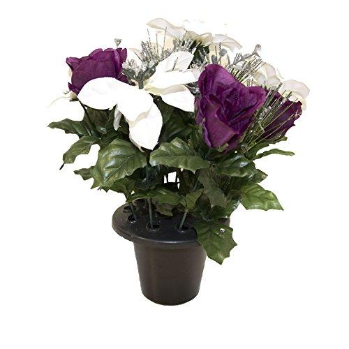 Homescapes Stilvolles Poinsettia Weihnachtsstern Rosen Grabgesteck Weiß Lila Silber mit Tannenzapfen Grabschmuck im Kunststofftopf, Dekoblumen Künstlich, Künstliche Pflanzen