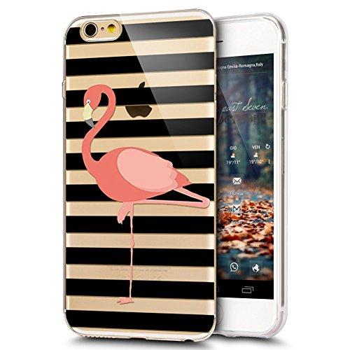 JAWSEU Coque Etui pour iPhone 6/6S 4.7,iPhone 6S Coque Transparent en Silicone,iPhone 6 Étui Tpu Cristal Clair,Ultra Slim Mince Coloré Créatif Lovely Flamingo Motif Silicone Gel Protecteur Téléphone C Flamingo 2