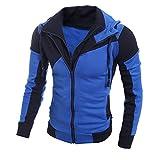 SEWORLD Herren Herbst Winter Sport Charm Herren Casual Großer Retro Langarm Kapuzenpullover Windbreaker Oberteile Jacke Mantel Outwear(X-c-blau,EU-46/CN-L)