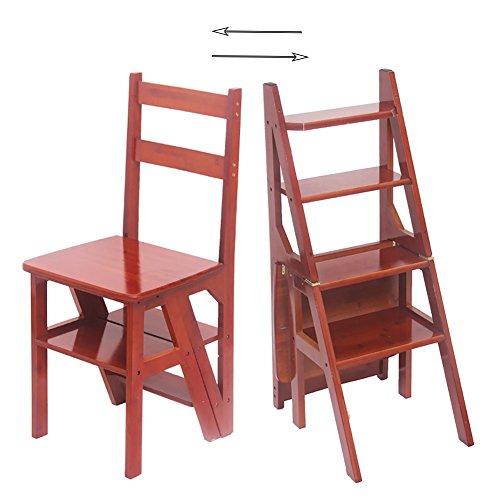 TH Klappstufen 4-Stufen-Trittleiter Hocker Klappstuhl Haushalt Bambus Hocker Multifunktions Klappleiter Stuhl Küche Schritt Hocker (Farbe : Nussbaum)