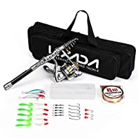Lixada Telescopic Spinning Fishing Rod and Reel Combo Full Kit,Portable Lure Rod Suit with 100M Fishing Line Lures Hooks