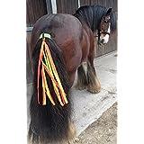 Horse and Rider Safety The Wiz Viz Cintas de seguridad fluorescentes para la cola del caballo, te hace visible al caballo y a ti, Fluorescent Orange and Yellow