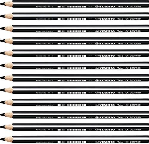 Lápiz de color triangular grueso STABILO Trio thick - Caja con 12 unidades - Color negro