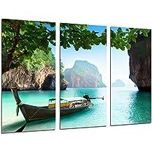 Cuadro Moderno Fotografico Paisaje Barca en la Playa, Paraiso Tropical, 97 x 62 cm