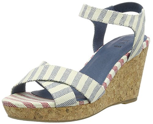 Shoe The Bear Damen Alec Stripe Durchgängies Plateau Sandalen mit Keilabsatz, Blau (170 Blue), 41 EU (Stripe Wedge Sandals)