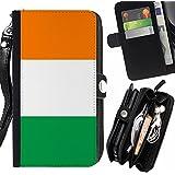 STPlus República de la bandera de Irlanda Irlanda Monedero Con Correa y Cremallera Carcasa Funda para Sony Xperia M5 / Xperia M5 Dual