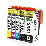 Toner Kingdom 5 Pack Compatible Epson 33XL Cartouches d'encre pour utilisation dans Epson Expression Premium XP-530 XP-630 XP-830 XP-635 XP-640 XP-645 XP-540 XP-900