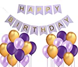 #3: Theme My Party Decoration Pack for Birthday Blue Happy Birthday Banner + Blue Purple Golden Metallic Balloons (Blue)