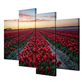 MENGJIAO Lienzo Wall Art Wall Paiting murales Tulip Paisaje de jardín Lienzo 4 Hojas/Set Living Room Wall Decoration Painting, with Borders, SizeA