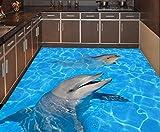 Malilove Home Decoration Wasserdicht Pvc-Bodenbeläge Tragen Aufkleber Delphine 3D Video Masse