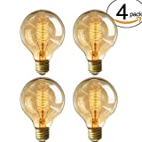 4 Stück 40W G80 Vintage Glühbirne E27 Schraube Retro Edison Style Filament Glas Antik Lampe Dekorative Edison Glühbirne(4 Stück-G80)
