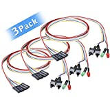 #5: 3 Pack ATX PC Computer Motherboard Power Cable 2 Switch On/Off/Reset with with HDD Power LED Light - 65cm (25 inch)