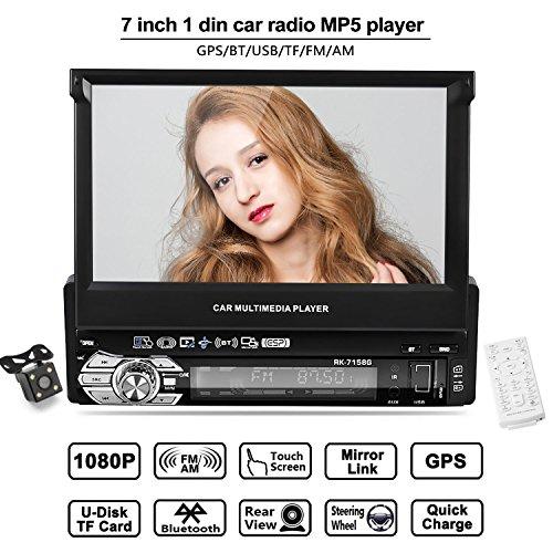 Autoradio mit GPS Navigation, LESHP 7 Zoll HD Touchscreen Auto Radio, mit Mirrorlink/Bluetooth Freisprecheinrichtung/7 LED Beleuchtungsfarben / AM/FM/USB/TF/AUX IN/ Ausgabe (Gps Für Auto Mit Kamera)
