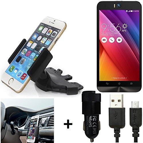 K-S-Trade TOP SET per Asus ZenFone Selfie + Caricabatteria Supporto Slot CD Smartphone per auto dispositivi di navigazione montaggio autoradio titolare staffa per Asus ZenFone Selfie fatto per smartphone, cellulare, navigazione / GPS