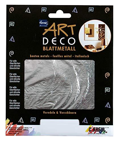 Kreul 99402 - Art Deco Blattmetalle, zum Veredeln auf Holz, Glas, Papier, Leinwand, Styropor, Wachs, Keramik, Metall, Leder und Stein, ca. 14 x 14 cm, 6 Blatt in silber -