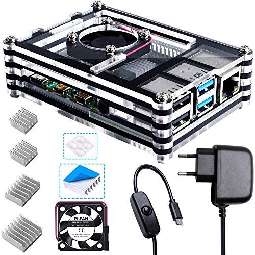 Bruphny Caja para Raspberry Pi 4, Caja con Ventilador, Cargador de 5V / 3A USB-C y 4 X Disipador para Raspberry Pi 4B / 4 Modelo B (No Incluye Placa Raspberry Pi)