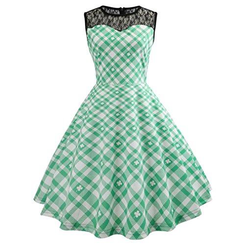 Xinxinyu Damen Kleid,Sommer { Bodycon drucken Kleid } { Sommer Evening Party kleid } { Casual Spitze Prom Swing kleid } (Grün, S)