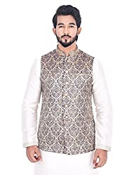 Manyavar Patterned Designer Nehru Jacket (XX-Large)