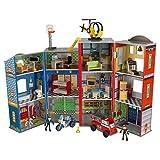 Kidkraft Everyday Heroes Juego de madera para niños, con camión de bomberos, moto...