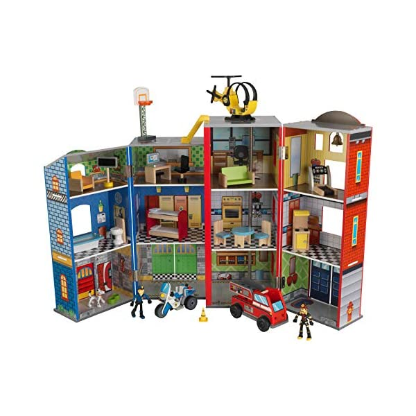 Kidkraft-63239-Set-di-Gioco-in-Legno-per-Bambini-Everyday-Heroes-con-Poliziotto-Elicottero-e-Pompiere-35-Pezzi-Inclusi