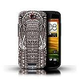 Kobalt Elefante Nero Bianco stampato Custodia Cover per HTC One S cellulari telefoni / Collezione Aztec Animal Design