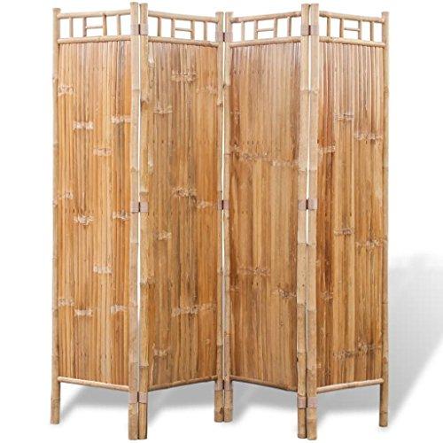 vidaXL Biombo de 4 Paneles de Bambú Marrón Separador Divisor de Espa