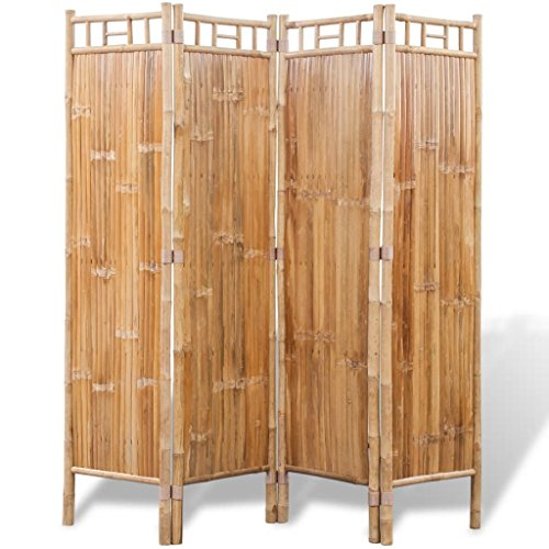 Lingjiushopping Trennblatt Raum Trenn-Innenraum A 4Platten von Bambu Material: Bambus Größe: 160x 160cm (L x A)