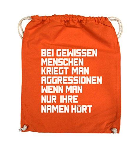 Comedy Bags - Bei gewissen Menschen kriegt man Aggressionen. - Turnbeutel - 37x46cm - Farbe: Schwarz / Pink Orange / Weiss