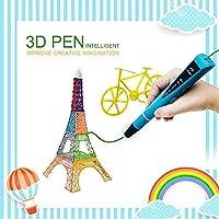 Lápiz 3D, Bolígrafo 3D para Dibujar en Relive, Compatible con PLA & ABS Filamento, Perfecto para Niños y Adultos, 2x 1.75mm PLA Filamentos(5m) o 1x 1.75mm PLA Filamento(10m) Incluido, Azul