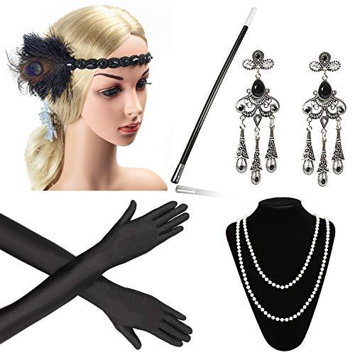 Beelittle 1920er Jahre Zubehör Set Flapper Stirnband, Halskette, Handschuhe, Zigarettenspitze Great Gatsby Zubehör für Frauen (E1)