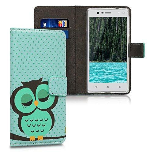 kwmobile Hülle für Nokia 3 - Wallet Case Handy Schutzhülle Kunstleder - Handycover Klapphülle mit Kartenfach und Ständer Eule Schlaf Design Türkis Braun Mintgrün
